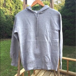 🆕- Magaschoni Gray Knit Hooded Pullover Sweat…